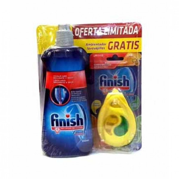 Finish lavavajillas  abrillantador 500ml + ambientador Finish limón