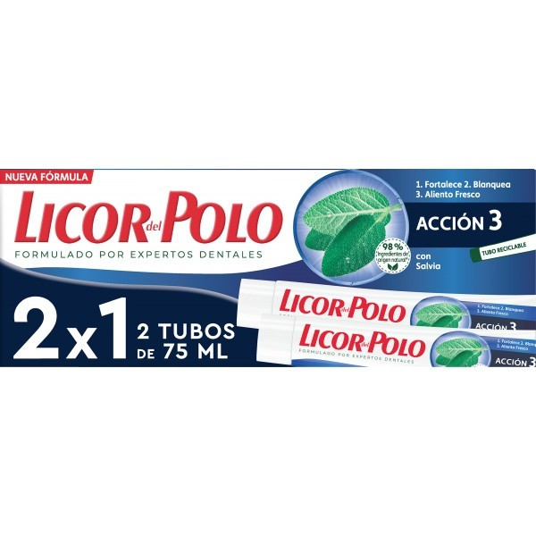 Licor del Polo dentífrico Acción 3 2x75 ml