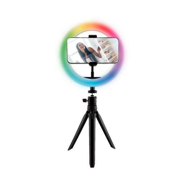 Ksix bxyoutub01c aro de luz led/15 colores rgb/trípode/mando